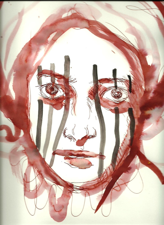 "Warrior, watercolor sketch for image 48 x 48"""