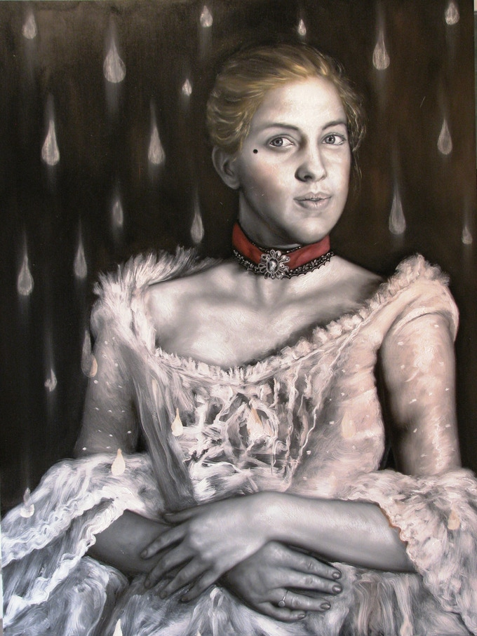 """Doña Inés with Falling Tears (finished work), oil and encaustic on panel, 48 x 36"""""""