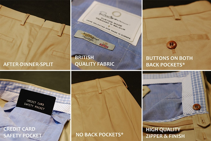 * 2 back pockets for men, no pockets for the ladies