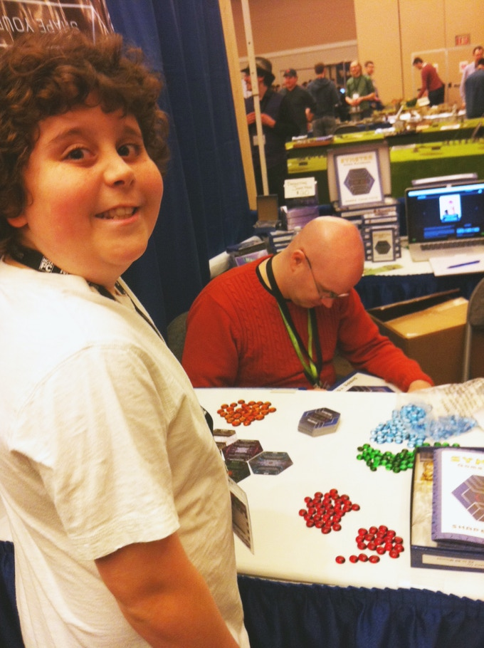 11 year old Linden getting Brad to sign his copy after their awesome duel at GottaCon 2014!