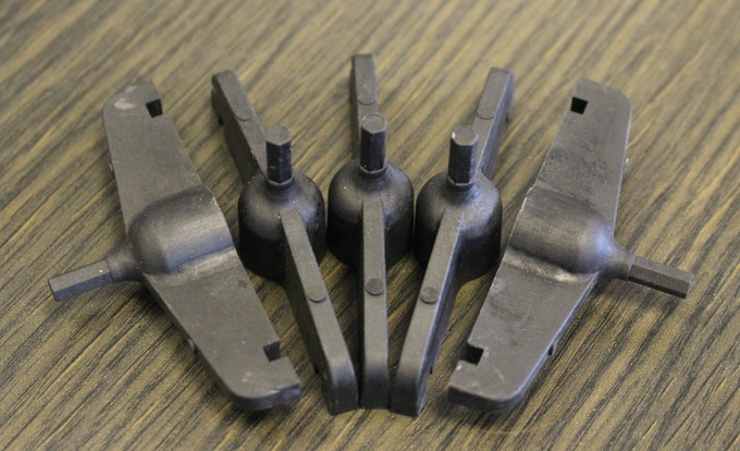 Metal replacement plastic test pieces