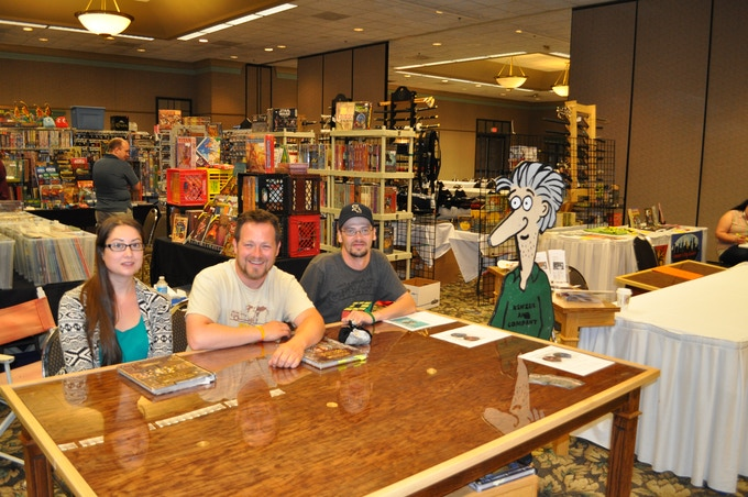 Here we are at Nexus Game Fair with our Dice Master Dice and Custom Game Tables. (with B.A. as GM)
