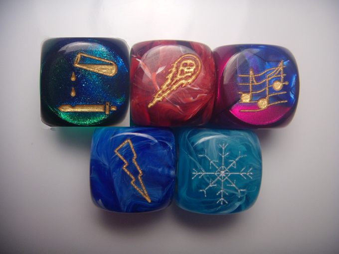 These are the 5 Elements Dice. These are what your dice will look like*