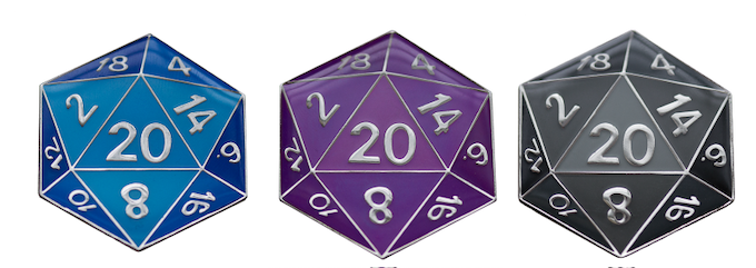 Completed D20 Pins from our Winter 2013 Project