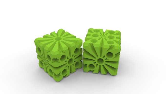 Snowflake Dice in Neon Green