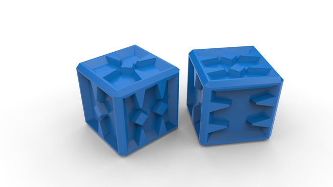 Spiked Dice Shown in Blue