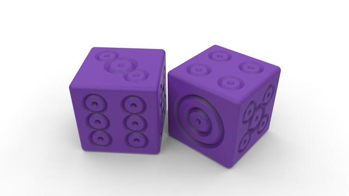 Bullseye Dice Shown in Purple