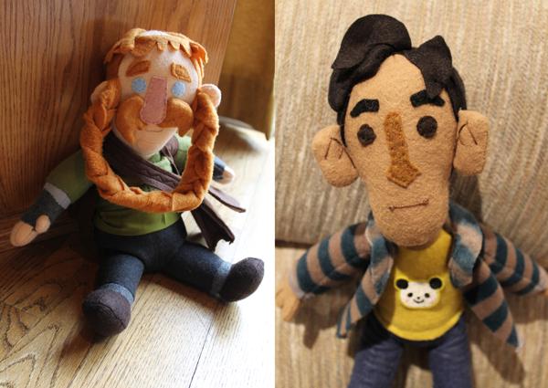 Bombur (The Hobbit) and Abed (Community) plushie samples