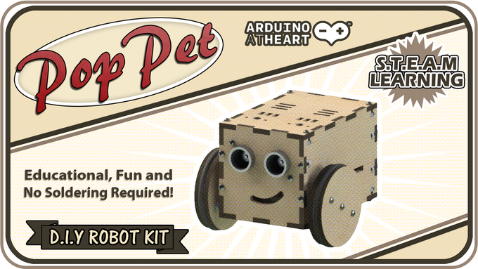 PopPet: DIY, Arduino Compatible, Open Hardware, Robot Kit by