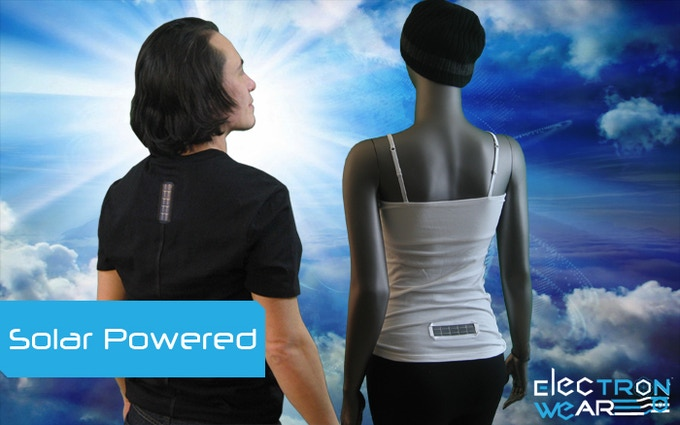Light Clothing with the Solar Cell on the back of the shirt.