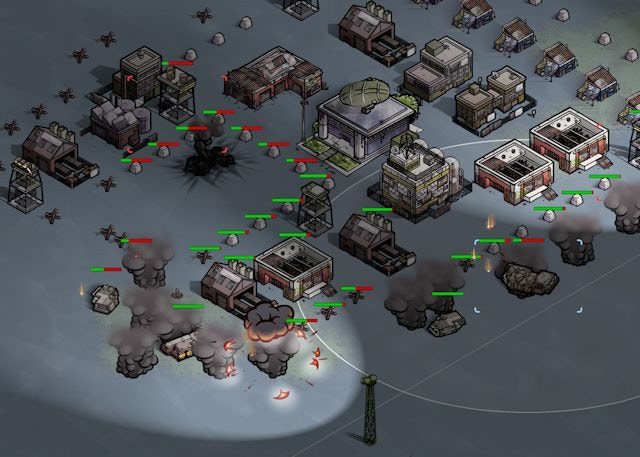 Detail from an attack on a rival human base.