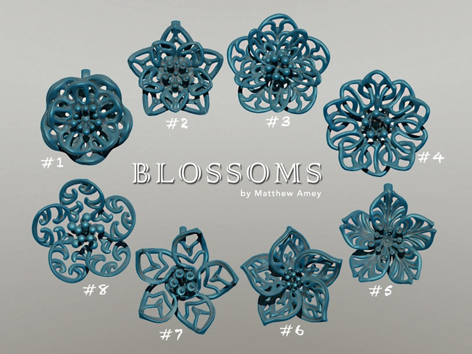 """Virtual rendering of my """"Blossoms"""" pendants."""