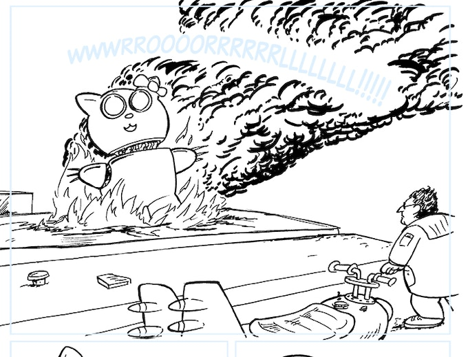 A Detail from page 75's original line art - 119 more like this one!