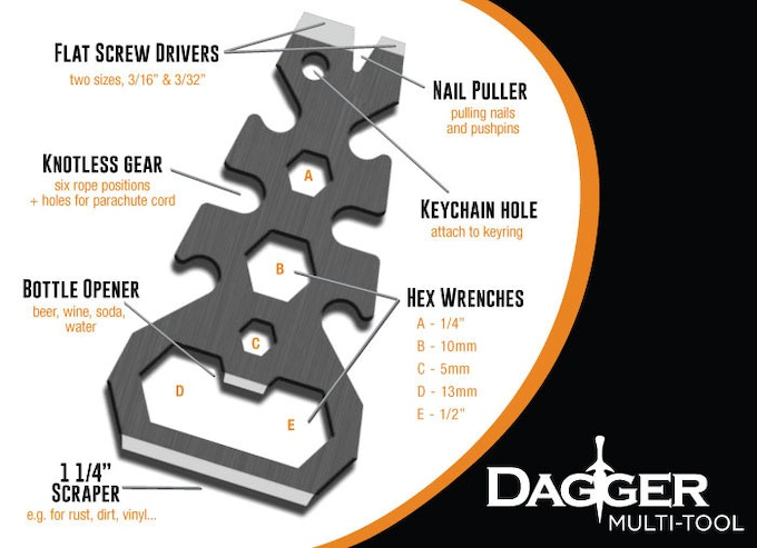 """The Dagger brings you 10+ tools in just shy of a 1.67"""" x 3"""" frame."""