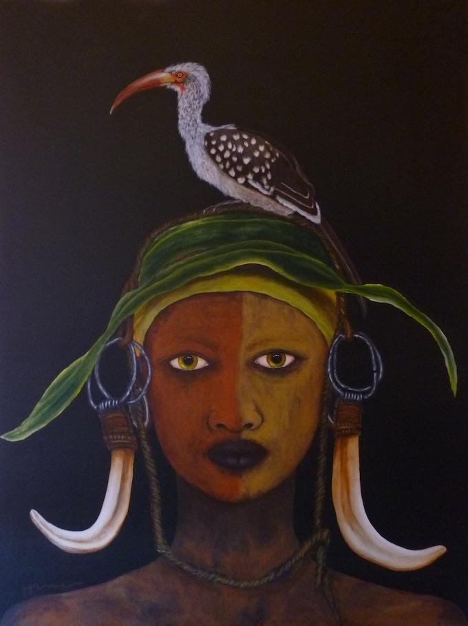 'Red Billed Hornbill'   48x36