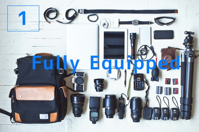 Fully Equipped - For a busy shoot: fits 2 cameras, 6 lenses, and all the essentials-cables, laptop, batteries, charger, iPad ...