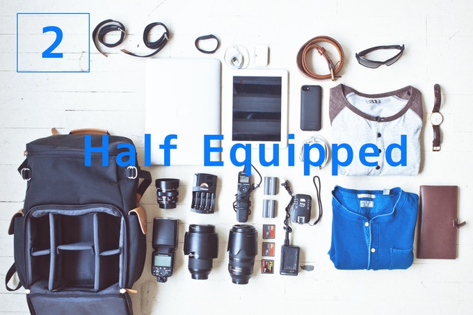 Half Equipped - When you don't need to pack as much gear. Simply providing space to carry one camera and a few lenses, it frees up some space for your clothes, books and all your other essentials.