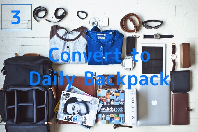 Full Daily Backpack - When you don't need your camera at all, it converts to a full backpack, fitting all your daily supplies.