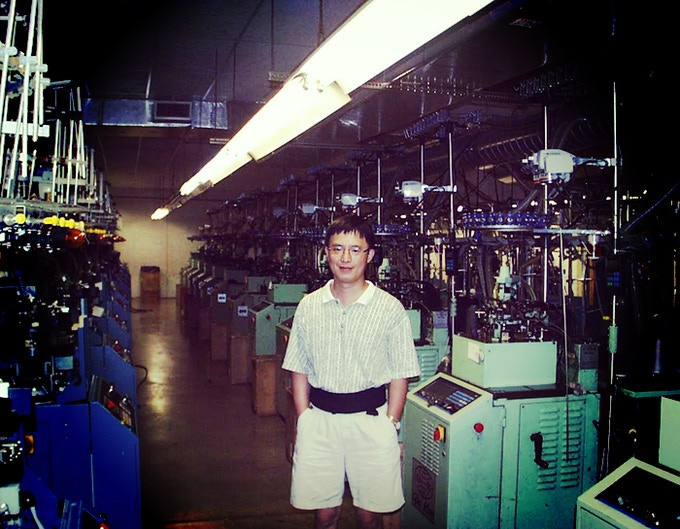 My father in his New York factory in 1992