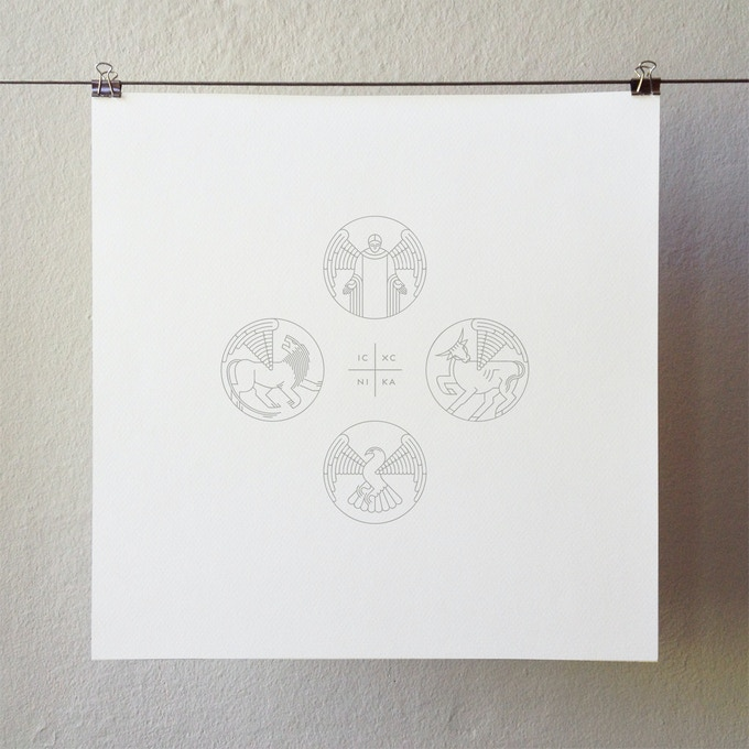 "Original artwork by Adam Greene / ""Christogram and The Four Evangelists"" / Limited Edition 12x12 letterpress broadside / Metallic pewter ink / Signed & numbered (IC XC NIKA = Jesus Christ Conquers)"