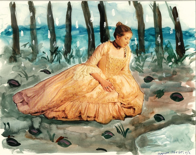 """Sketch """"Doña Inés in a Field of Strange Fruit"""", oil painting, projected size 76 x 60"""""""