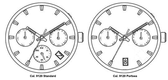 Cal. 9120 standard vs. Portsea configuration
