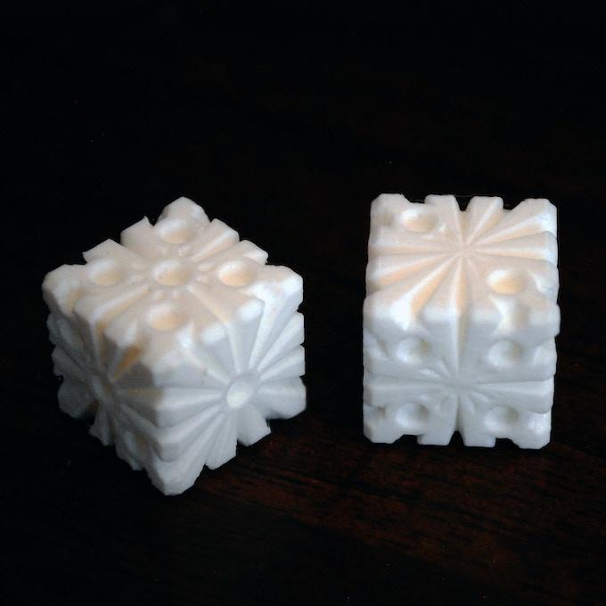 3D Printed Snowflake Dice