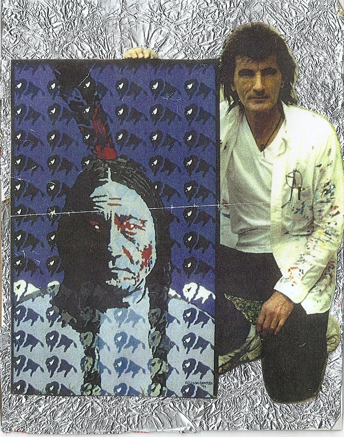 Jaye and his painting of Sitting Bull