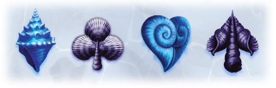 Fully illustrated pips, depicting various seashells arranged to the suit shapes.