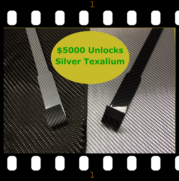The contrast of the Silver Texalium 5BerScratcher laying on raw carbon fiber fabric, next to the Standard Black 5BerScratcher laying on the raw Silver Texalium fabric