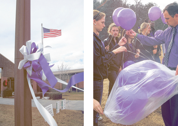 Schools honoring Larissa by releasing purple balloons on their soccer field.