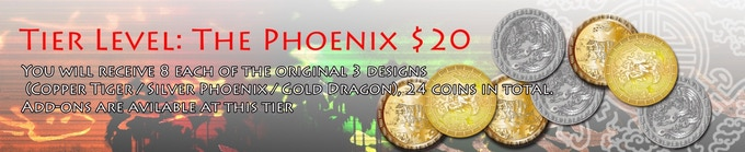 You will receive 8 each of the original 3 designs (Copper Tiger / Silver Phoenix / Gold Dragon), 24 coins in total.