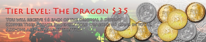 You will receive 16 each of the original 3 designs (Copper Tiger / Silver Phoenix / Gold Dragon), 48 coins in total.