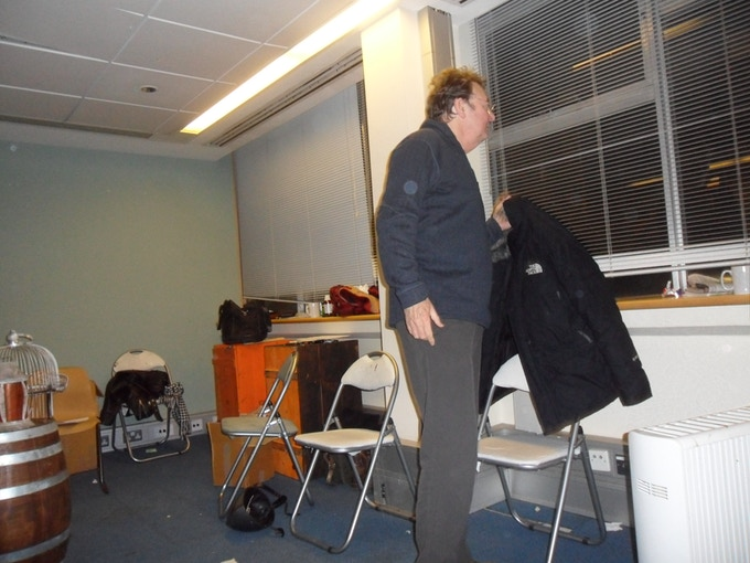 During the initial rehearsals John Wright wonders if jumping out of the window will help!
