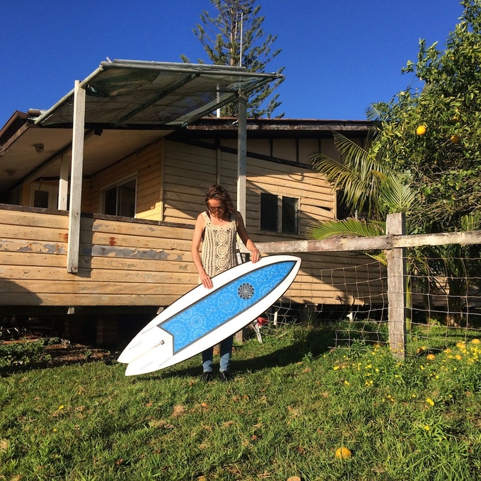 """Angie's board, the """"Chicama Express"""", a 5'7 cv2 quad fish shaped by Gary McNeill."""