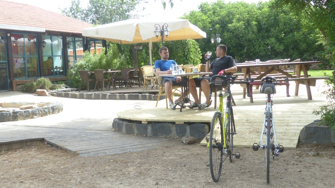 Enjoy your after ride drink with your bike in sight, no benches or trees required ;)