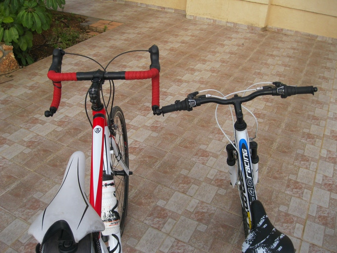 You can also stand road and MTB bikes together