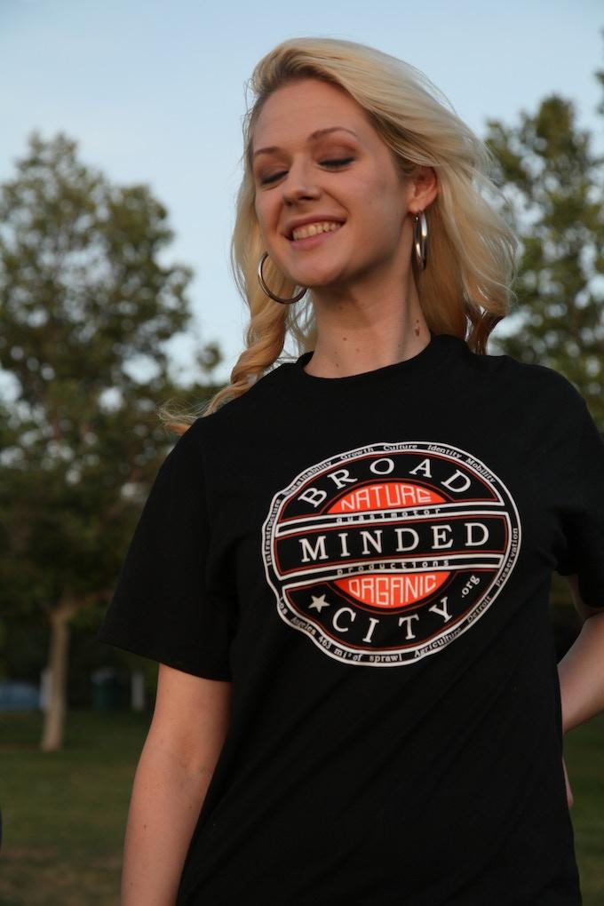 Broad Minded City T-shirt, modeled by Treasa McNamee