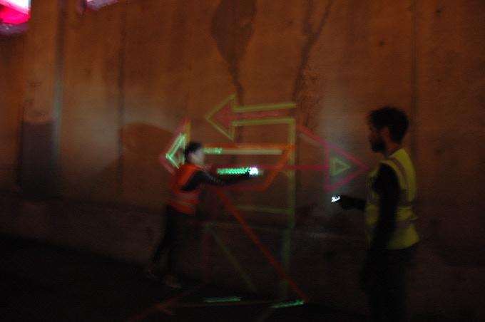 mapping at night at the Lumen Festival at the Atlantic Salt Terminal.