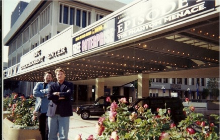 MANY BOTHANS DIED TO BRING YOU THIS MOVIE: Creators MARK A. ALTMAN and ROBERT MEYER BURNETT in front of one of the theaters across the country playing FREE ENTERPRISE on Friday, June 4, 1999.