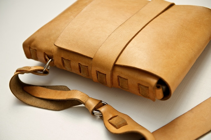 Darrin's Five-Year-Old Satchel. Natural un-dyed leather + patina.