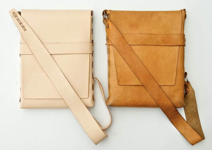 """On the left: the PACT Satchel in our """"Natural"""" un-dyed leather. On the right: the same type of leather, but after 5 years and neatsfoot oil treatment."""