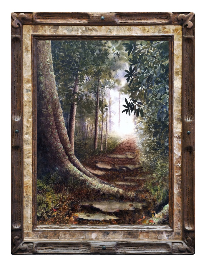 """Into the Clearing"" with serpentine frame by Alan Shuptrine"