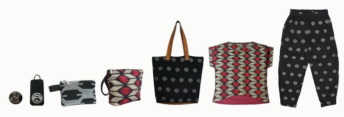 For a pledge of £300: You will receive the full dhaka collection for an incredible price, including the top and trousers, bag, purse, washbag, key ring, and brooch!