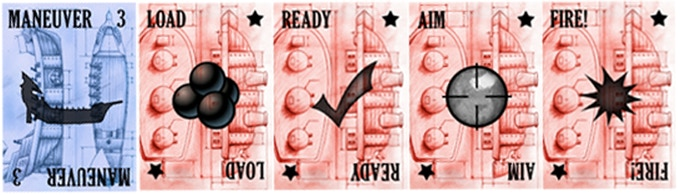Closeup of the 5 Action Cards: Load, Ready, Aim, Fire & Maneuver