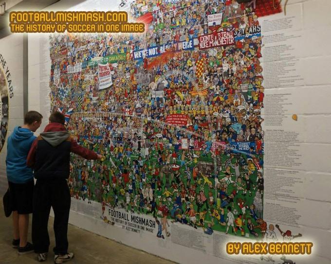 Football Mishmash mural at Watford Football Club.