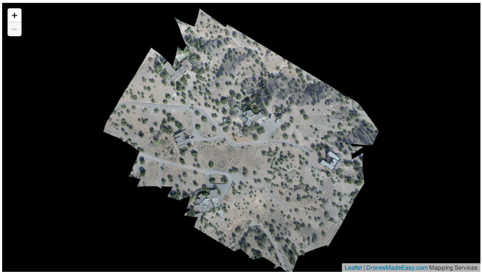 Aerial stitch generated from 44 raw images. Not zoomable - check out our samples page.