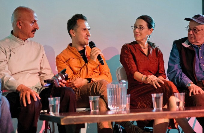 Panel discussion organized by SDN at the 2012 New York Photo Festival organized by SDN. Speaking are Reza, Platon, Lori Grinker, & Bruce Davidson. Photo by Matthew Lomanno