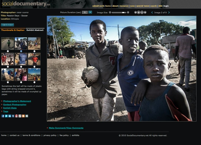 "One of more than 1,700 documentary projects submitted to SDN since its founding in 2008. Photo by Cesar Suarez from ""Passion Days -- Soccer""."