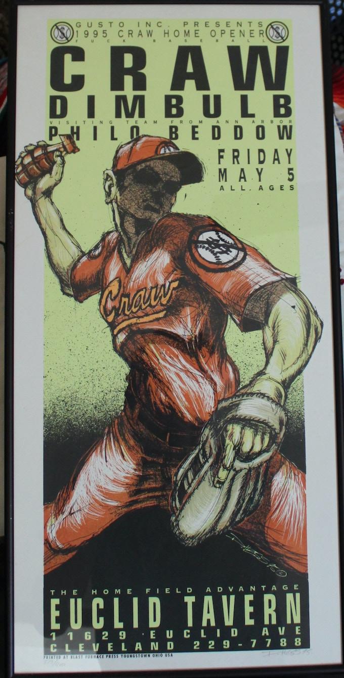 "Craw poster by Derek Hess - ""Fuck Baseball"" design - reward version will be unframed"